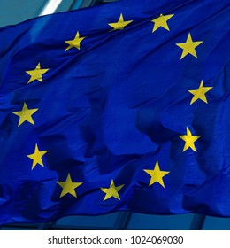 flag euro union in the wind