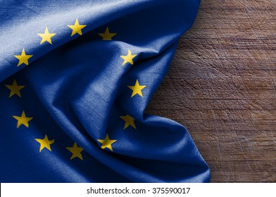 Flag of Europe on wood background