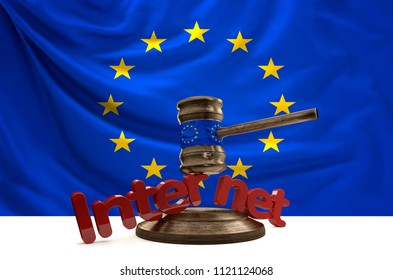 flag of Europe on wooden judge gavel with bold letters Internet 3D-Illustration