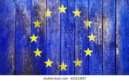 Flag of Europe union painted on grungy wood plank background