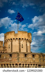 The flag of the European Community, EEC, flies over the Mausoleum of Roman Emperor Hadrian, usually known as Castel Sant'Angelo, in Rome, near the Vatican. It was used by the popes as a fortress.