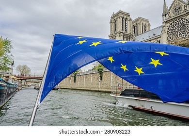 The flag of the European Community over the Seine. Paris, France