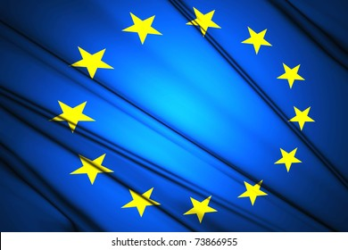 Flag of European Nation lit by sunlight in the background