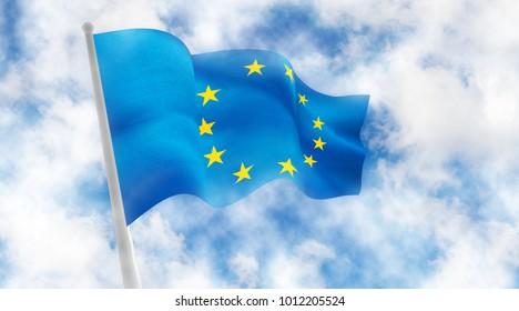 flag of European Union against sky background