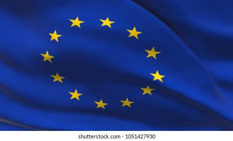 Flag of the European Union Beautiful 3d illustration of the European flag seamless loop