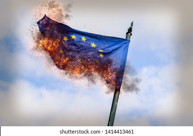 Flag of European Union burning with ashes - conceptual for breakup of the trading bloc and euroscepticism and populism- digital manipulation