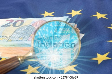 Flag of the European Union EU, Euro bills and inflation in Europe