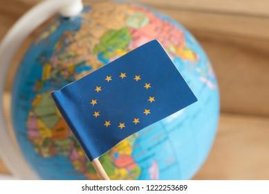 Flag of the European Union EU and a globe