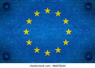 flag of European Union or Europe banner on steel background