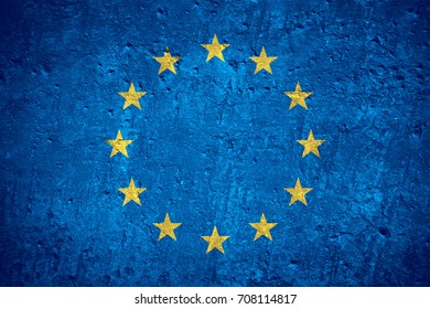 flag of European Union or Europe flag on scratched rough texture