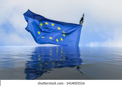 Flag of European Union in a flood with reflection - conceptual for breakup of the trading bloc and euroscepticism and populism- digital manipulation