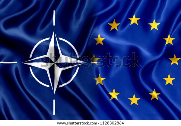 Flag of the European Union and Nato Silk