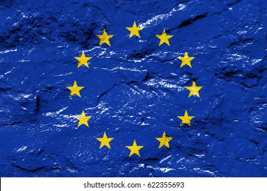 Flag of the European Union on the grunge concrete wall