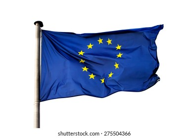 A flag of  European Union on white background