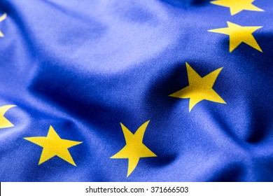 Flag of European Union waving in the wind.