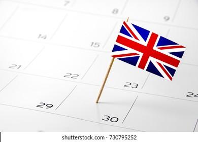 Flag the event day or deadline on calendar 2017 - English, United Kingdom, UK - time, page, design, background, timeline, management, concept, background