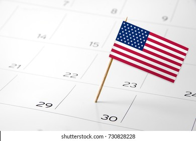 Flag the event day or deadline on calendar 2017 - English, USA, United States of America - time, page, design, background, timeline, management, concept, background