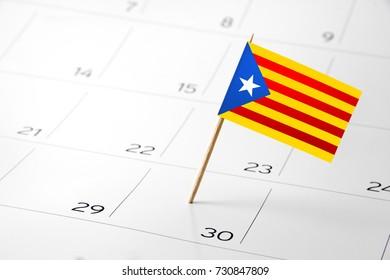 Flag the event day or deadline on calendar 2017 – Spain, Catalonia, Independence, protest - time, page, design, background, timeline, management, concept, background