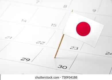 Flag the event day or deadline on calendar 2017 –Japan - time, page, design, background, timeline, management, concept, background