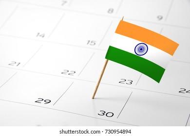 Flag the event day or deadline on calendar 2017 –India - time, page, design, background, timeline, management, concept, background
