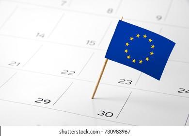 Flag the event day or deadline on calendar 2017 –EU European Union- time, page, design, background, timeline, management, concept, background