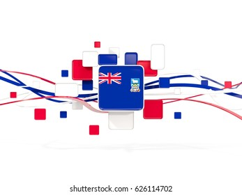 Flag of falkland islands, mosaic background with lines. 3D illustration