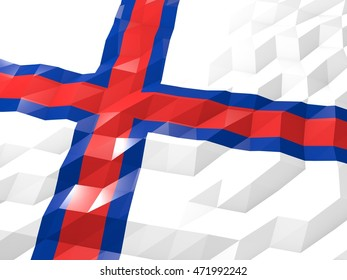 Flag of Faroe Islands 3D Wallpaper Illustration, National Symbol, Low Polygonal Glossy Origami Style