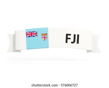 Flag of fiji on banner and country code isolated on white. 3D illustration