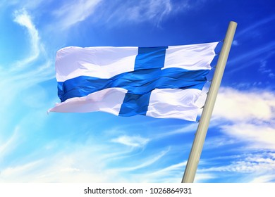 Flag of Finland against the background of the sky