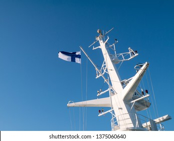 Flag of Finland flying at the ferry mast