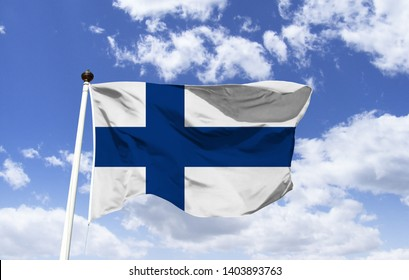 Flag of Finland, has a blue, Nordic cross on a white background. The blue symbolizes the lakes, the Baltic Sea and the blue sky. White represents snow and light summer season nights