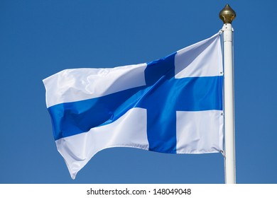 Flag of Finland on a background sky