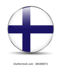 Flag of Finland as round glossy icon.