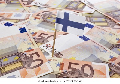 Flag of Finland sticking in european banknotes.(series)
