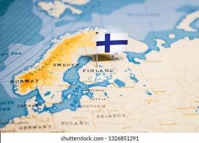 the Flag of finland in the world map