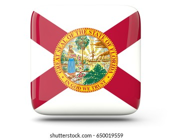 Flag of florida, US states square  icon isolated on white. 3D illustration