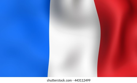 Flag of France, fluttering in the wind. It is different phases of the movement close-up flag in the wind.