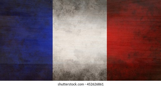 flag of France or French banner on wooden background