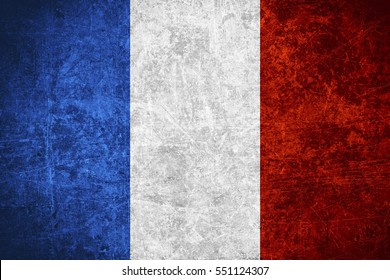 flag of France or French banner on scratched vintage texture