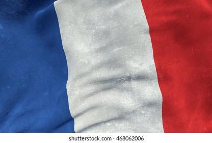 Flag France grunge concept. 3D illustration.