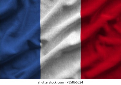 Flag of France . Flag has a detailed realistic fabric texture.