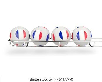 Flag of france on lottery balls. 3D illustration