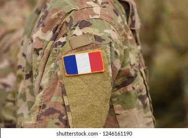 Flag of France on soldiers arm (collage).