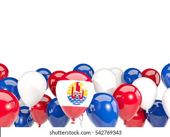 Flag of french polynesia, with balloons isolated on white. 3D illustration