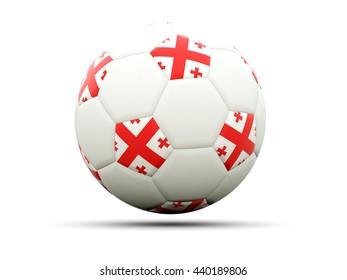 Flag of georgia on football, isolated on white. 3D illustration