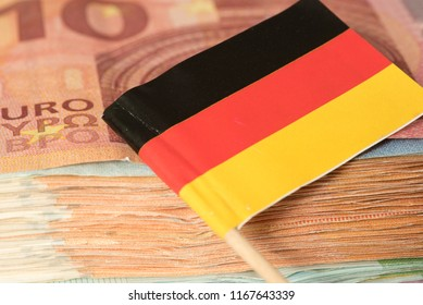 Flag of Germany and Euro bills