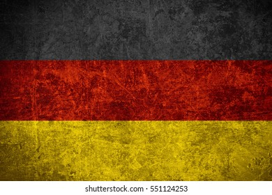 flag of Germany or German banner on scratched vintage texture