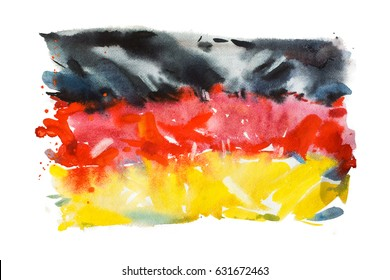Flag of Germany, hand drawn watercolor illustration.