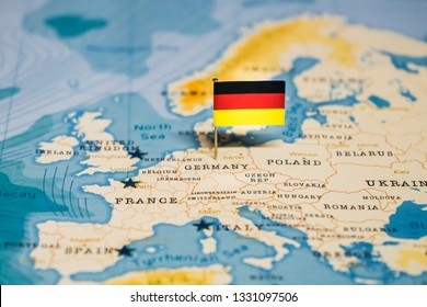the Flag of germany in the world map