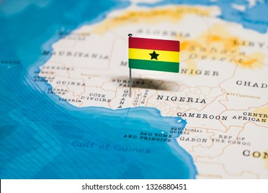 the Flag of ghana in the world map